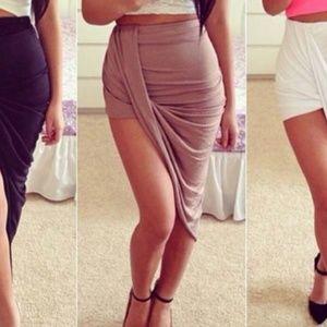 Khaki Asymmetrical Wrap Hi Low Skirt